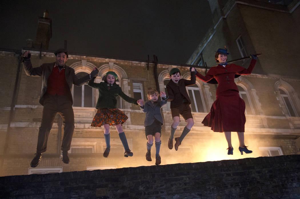 Jack (lin-Manuel Miranda), Annabel (Pixie Davies), Georgie (Joel Dawson), John (Nathanael Saleh) and Mary Poppins (Emily Blunt) in Disney's original musical MARY POPPINS RETURNS, a sequel to the 1 ...