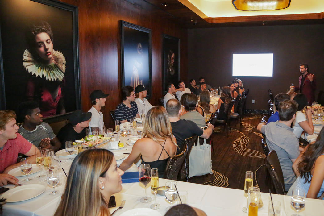 Members of the Vegas Golden Knights are shown during a party celebrating the close of the 2017-18 season at Scotch 80 Prime at the Palms on Friday, June 8, 2018 (Edison Graff)
