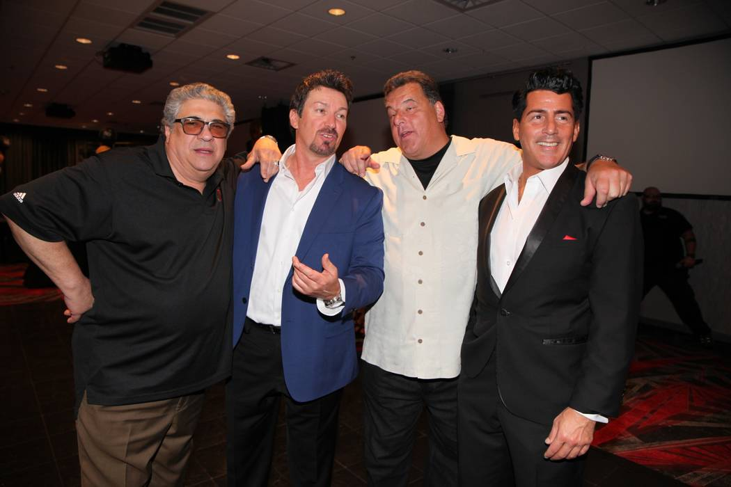 Vincent Pastore, Richard Wilk, Steve Schirripa and Drew Anthony (as Dean Martin) are shown at Wilk's 50th birthday party at The D Las Vegas on Saturday, June 9, 2018. (The D Las Vegas)