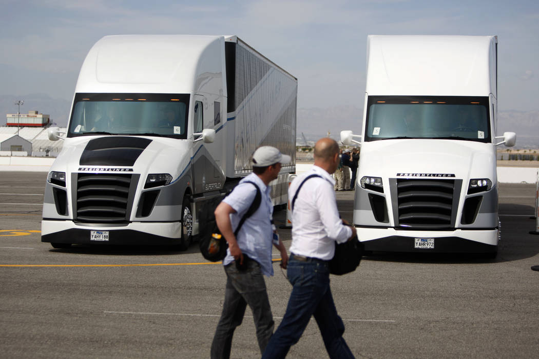 Two autonomous Freightliner Inspiration Trucks are seen during an event at the Las Vegas Motor Speedway in Las Vegas Wednesday, May 6, 2015. (Erik Verduzco/Las Vegas Review-Journal)