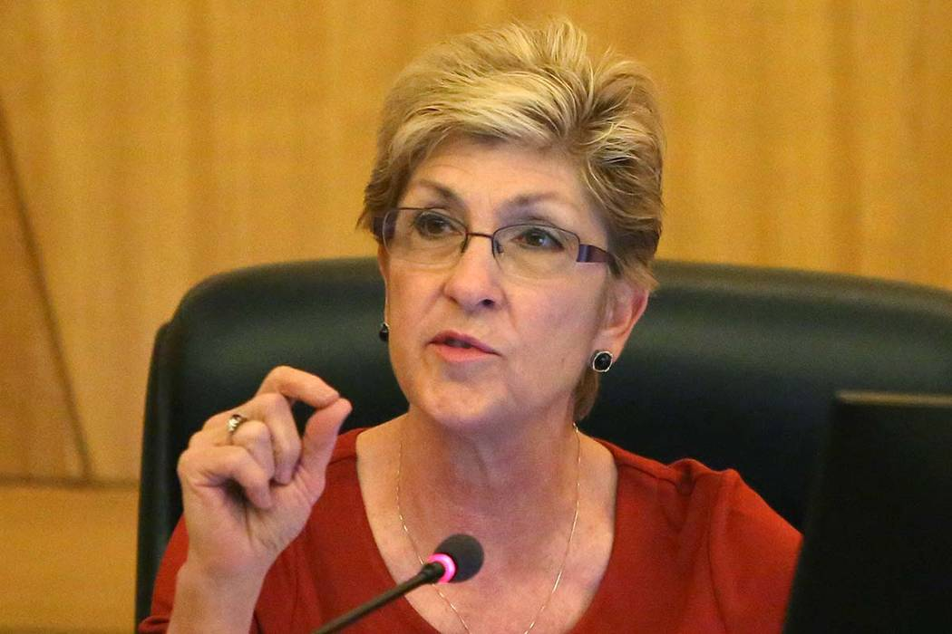 Clark County Commissioner Chris Giunchigliani speaks during a commission meeting on Tuesday, April 17, 2018, in Las Vegas. (Bizuayehu Tesfaye/Las Vegas Review-Journal)