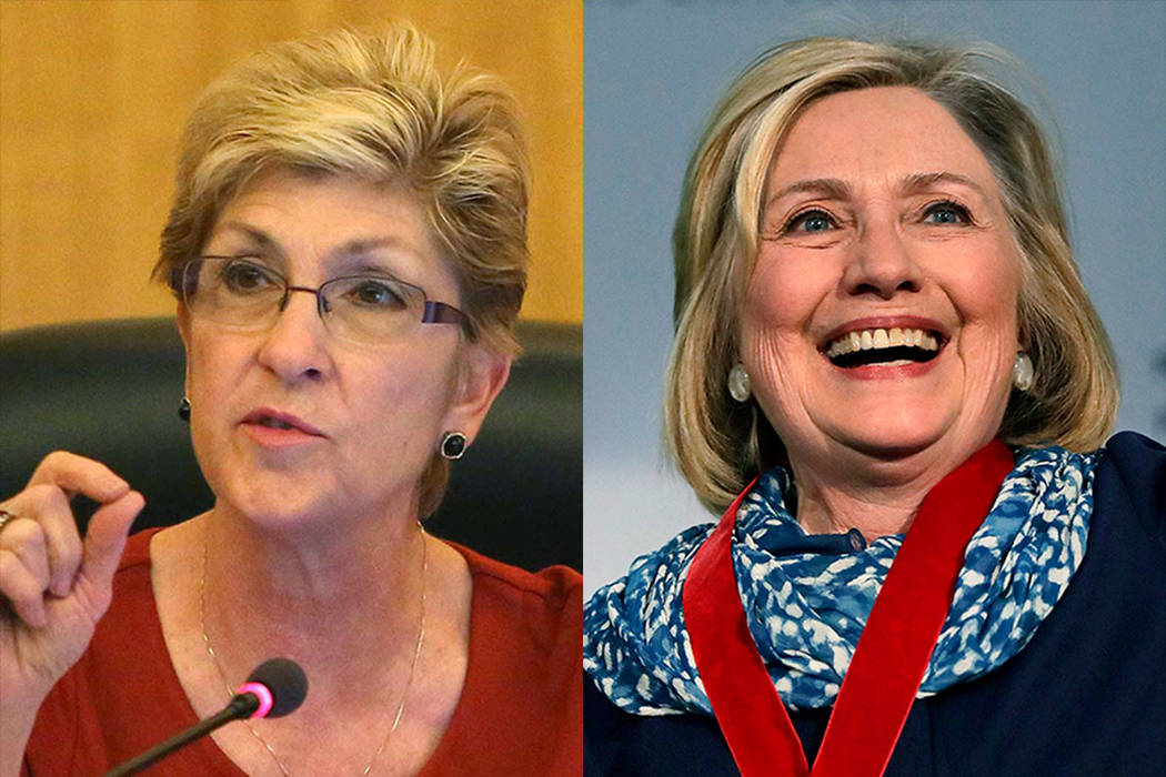 Chris Giunchigliani, left, and Hillary Clinton (Las Vegas Review-Journal and Associated Press photos)