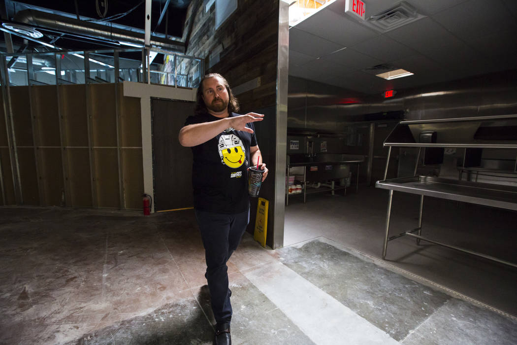 Reed Allen Slobusky, founder of SkinnyFats, walks through new kitchen space next to the original restaurant location at 6261 Dean Martin Drive in Las Vegas on Friday, June 8, 2018. Chase Stevens L ...