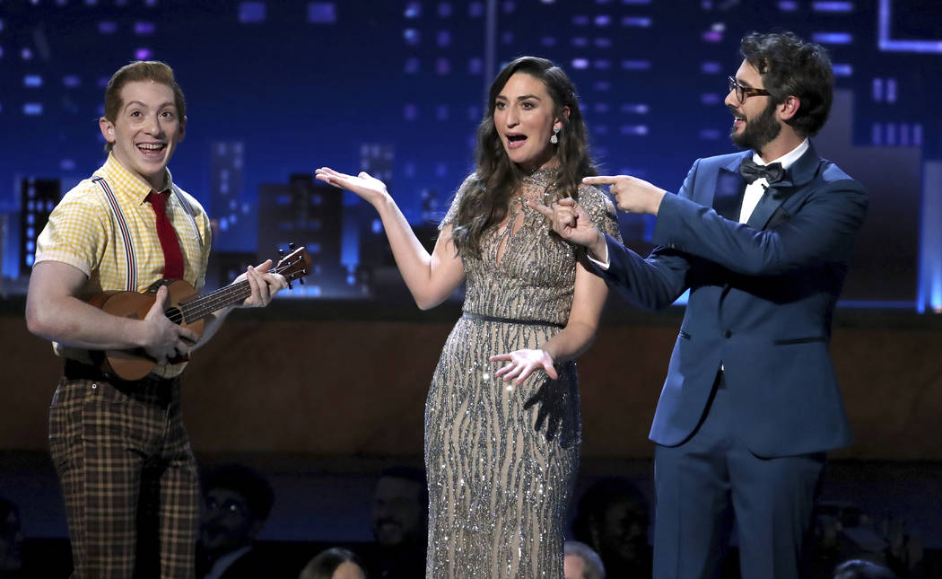 """Ethan Slater, left, of """"SpongeBob SquarePants:The Musical"""" performs at the 72nd annual Tony Awards at Radio City Music Hall on Sunday, June 10, 2018, in New York. Looking on from right a ..."""