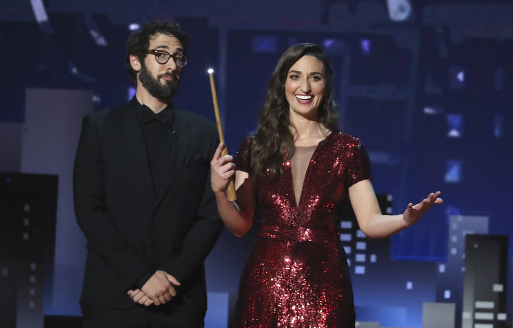 Co-hosts Josh Groban, left, and Sara Bareilles appear on stage at the 72nd annual Tony Awards at Radio City Music Hall on Sunday, June 10, 2018, in New York. (Photo by Michael Zorn/Invision/AP)