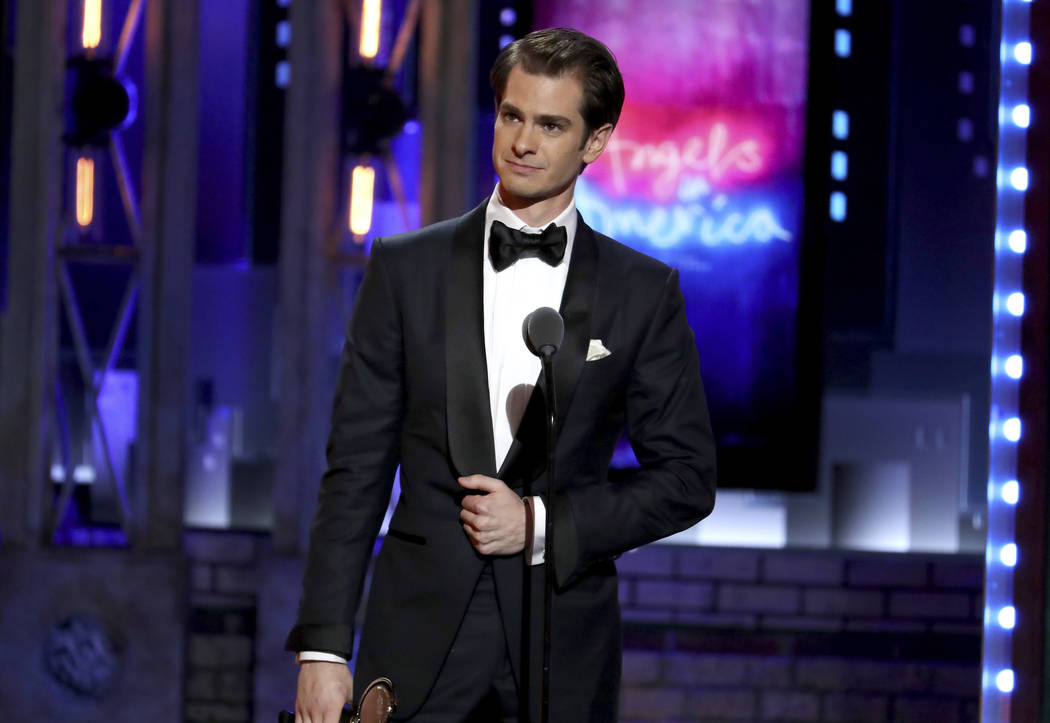 "Andrew Garfield accepts the award for best leading actor in a play for ""Angels in America"" at the 72nd annual Tony Awards at Radio City Music Hall on Sunday, June 10, 2018, in New York. ..."