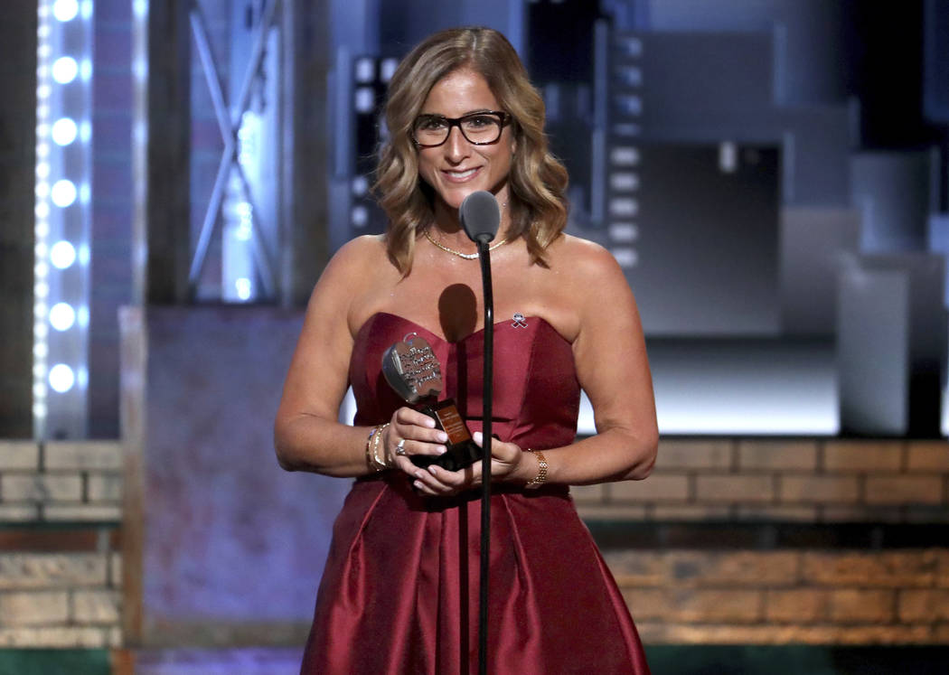 Melody Herzfeld, drama teacher at Marjorie Stoneman Douglas High School, accepts the award for excellence in theatre education at the 72nd annual Tony Awards at Radio City Music Hall on Sunday, Ju ...