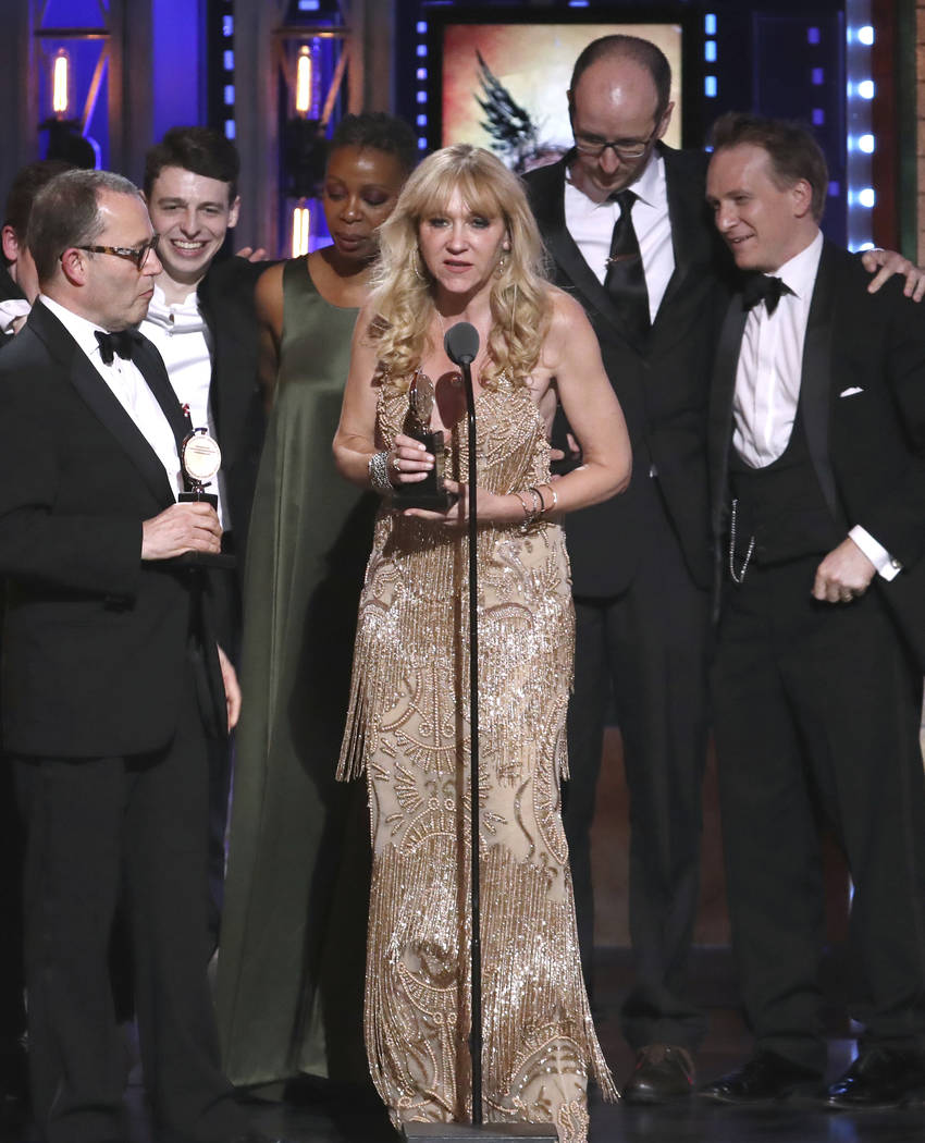"Producer Sonia Friedman and the cast and crew of ""Harry Potter and the Cursed Child, Parts One and Two"" accept the award for best play at the 72nd annual Tony Awards at Radio City Music ..."