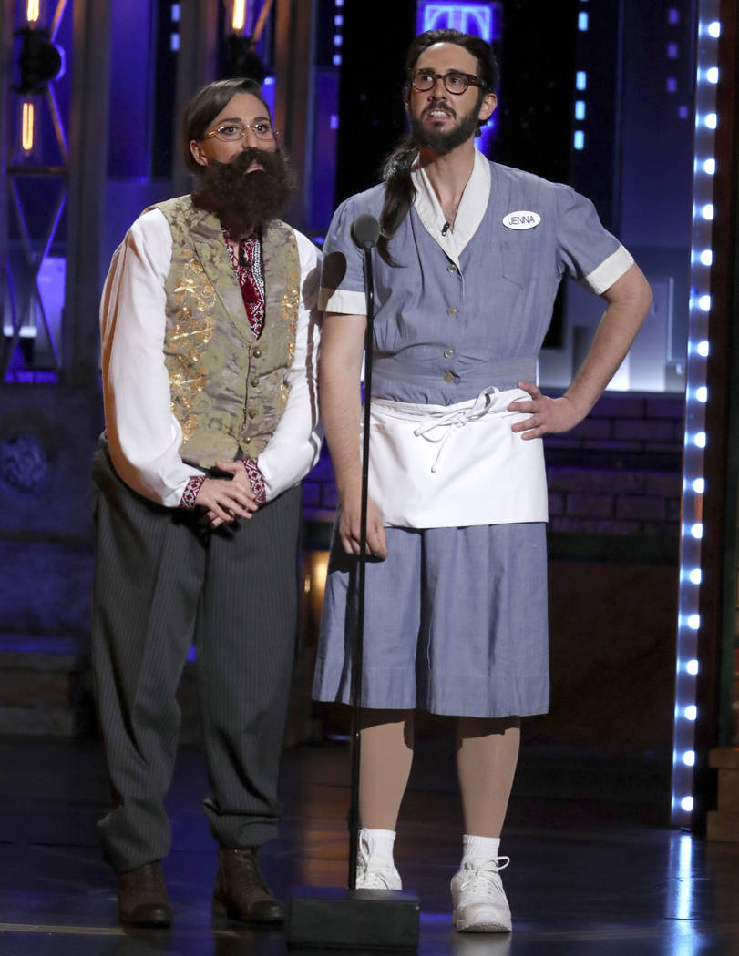 Co-hosts Sara Bareilles, left, and Josh Groban dress as each other at the 72nd annual Tony Awards at Radio City Music Hall on Sunday, June 10, 2018, in New York. Groban was dressed as Bareilles fr ...