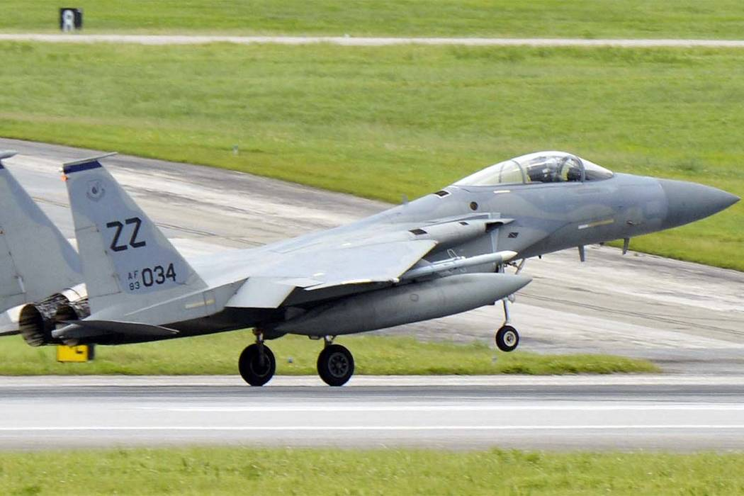 This May, 2017 photo shows a U.S. Air Force F-15 fighter jet at Kadena Air Base on the southern island of Okinawa in Japan. (Kyodo News via AP)