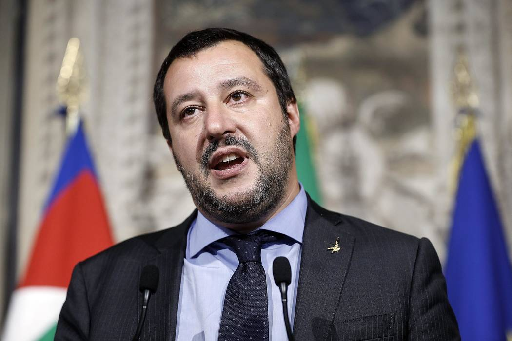 In this Monday, May 14, 2018 file photo, Leader of the League party, Matteo Salvini, addresses the media after meeting with Italian President Sergio Mattarella, at the Quirinale presidential palac ...