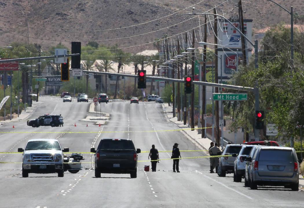 Las Vegas Police Department are investigating a fatal crash near East Lake Mead Boulevard and Mount Hood Street on Monday, June 11, 2018, in Las Vegas. Bizuayehu Tesfaye/Las Vegas Review-Journal @ ...
