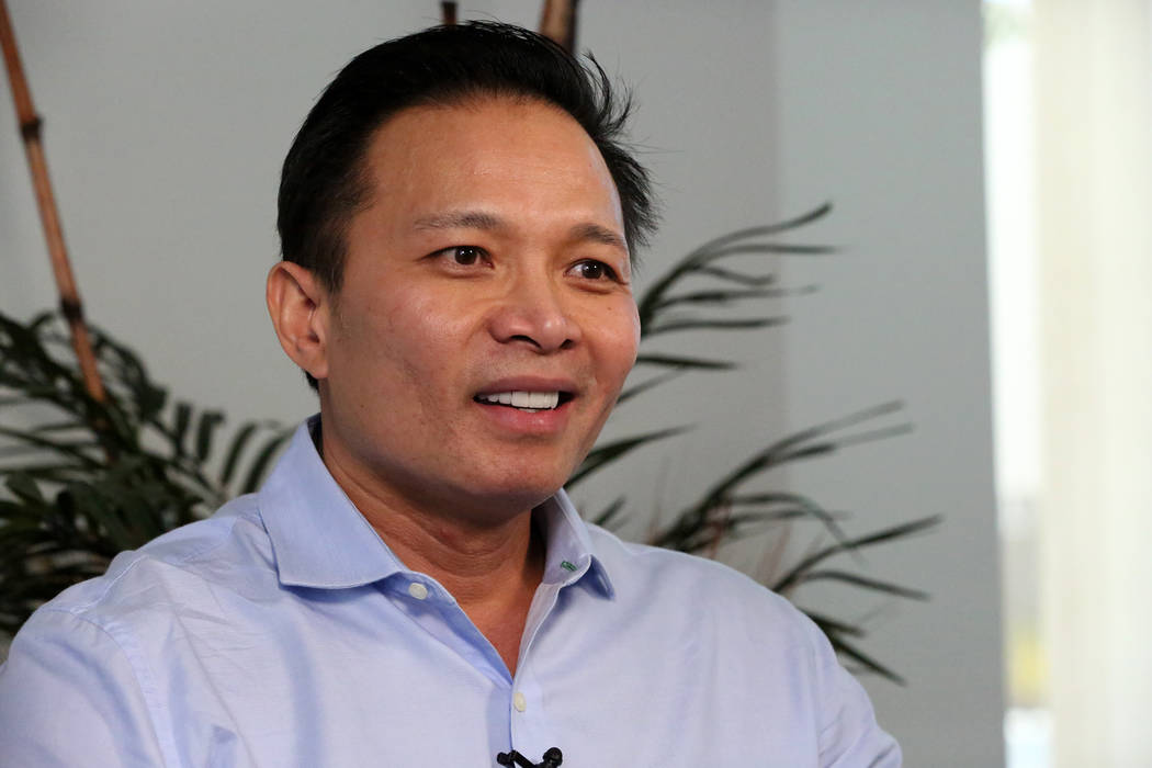 Property developer, Andy Pham, describes how his $4.9 million property was allegedly stolen using the Nevada secretary of state web site on Wednesday, March 28, 2018. Michael Quine Las Vegas Revie ...