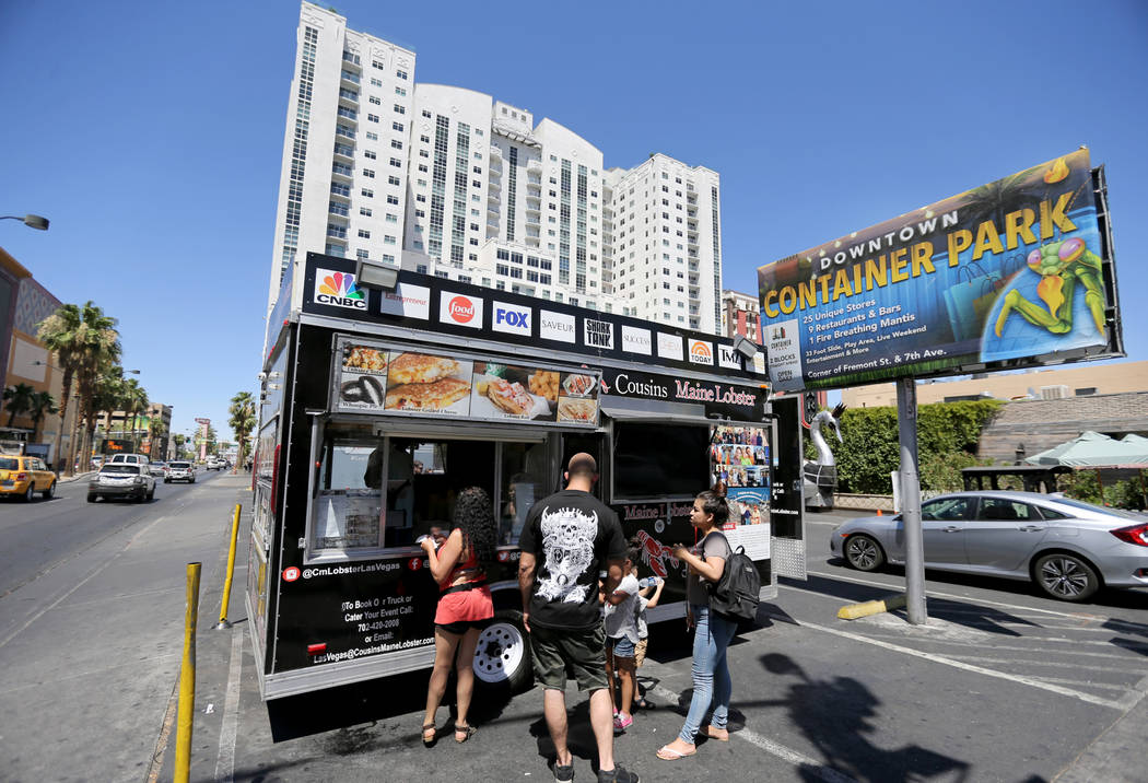 Cousins Maine Lobster food trailer on the corner of Fremont Street and Las Vegas Boulevard in downtown Las Vegas Monday, June 11, 2018. The food truck company will open its first store-within-a-st ...