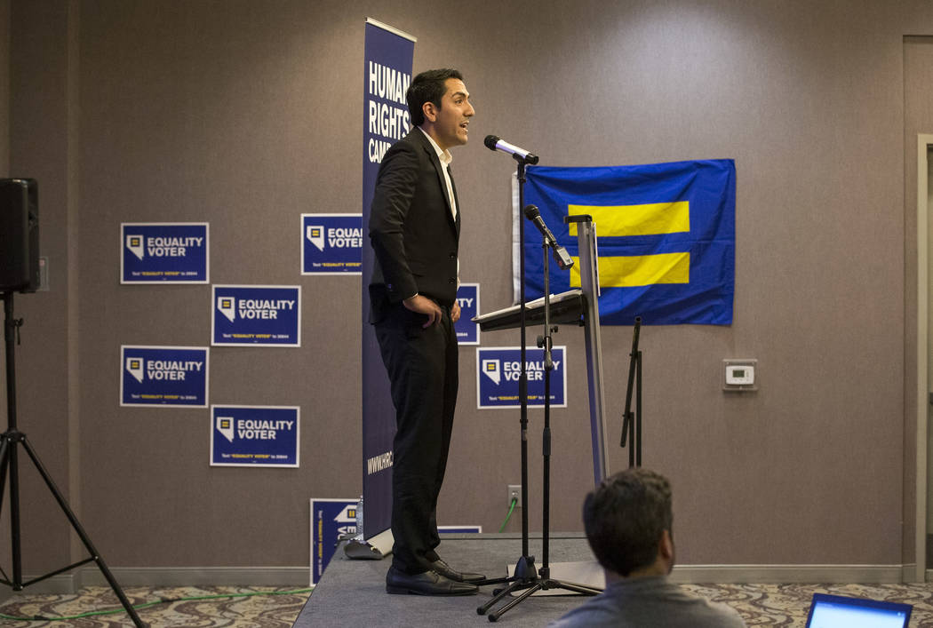 Assemblyman and Secretary of State candidate Nelson Araujo on stage during a Get Out the Vote rally hosted by the Human Rights Campaign at The Gay and Lesbian Community Center of Southern Nevada i ...