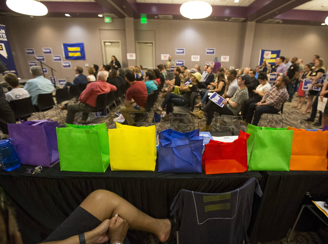 People attend a Get Out the Vote rally hosted by the Human Rights Campaign at The Gay and Lesbian Community Center of Southern Nevada in Las Vegas on Monday, June 11, 2018. Richard Brian Las Vegas ...