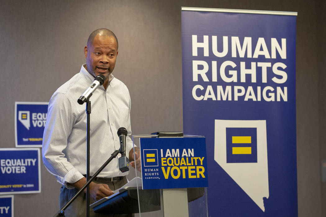 State Senator and Attorney General candidate Aaron Ford speaks during a Get Out the Vote rally hosted by the Human Rights Campaign at The Gay and Lesbian Community Center of Southern Nevada in Las ...