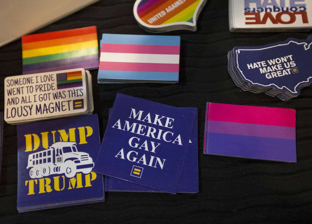 Pride stickers on a table during a Get Out the Vote rally hosted by the Human Rights Campaign at The Gay and Lesbian Community Center of Southern Nevada in Las Vegas on Monday, June 11, 2018. Rich ...