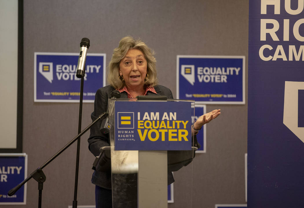 Congresswoman Dina Titus speaks during a Get Out the Vote rally hosted by the Human Rights Campaign at The Gay and Lesbian Community Center of Southern Nevada in Las Vegas on Monday, June 11, 2018 ...
