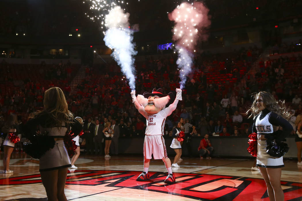 UNLV mascot Hey Reb! performs before the start of a basketball game against the San Jose State Spartans at the Thomas & Mack Center in Las Vegas on Wednesday, Jan. 31, 2018. Chase Stevens Las ...
