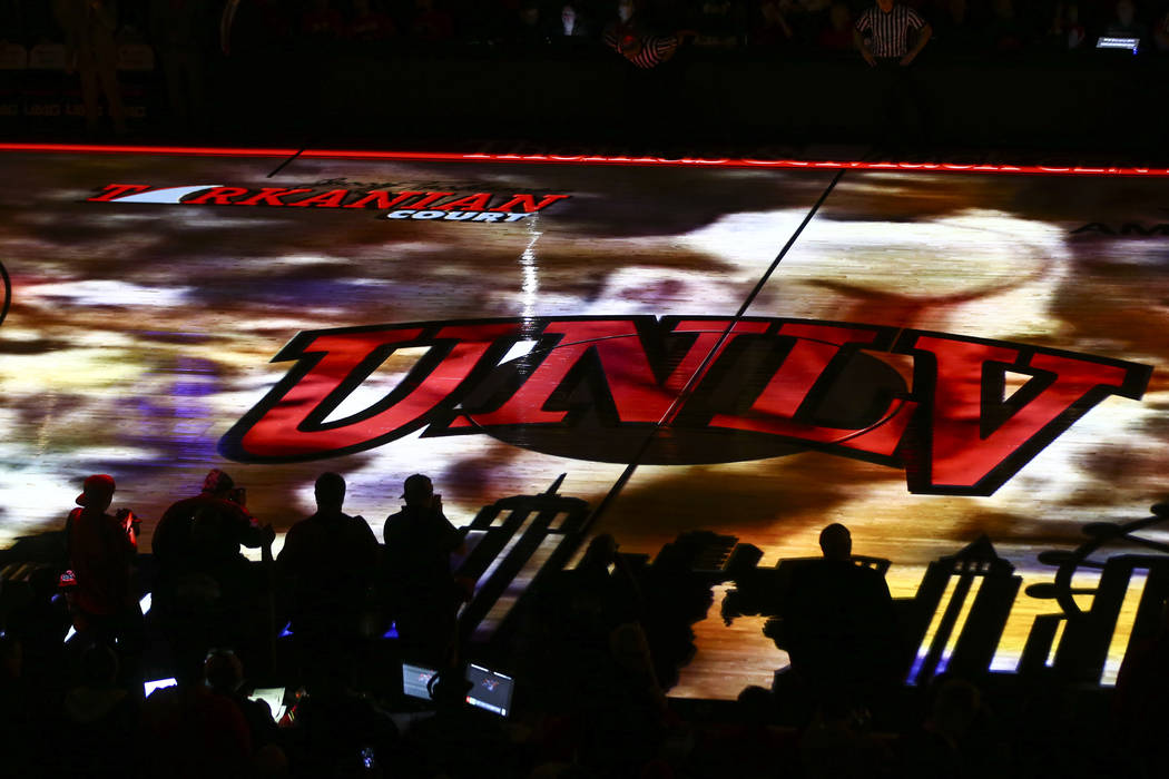 Silhouettes against the court as a pregame video plays before a basketball game between UNLV and UNR at the Thomas & Mack Center in Las Vegas on Wednesday, Feb. 28, 2018. Chase Stevens Las Veg ...