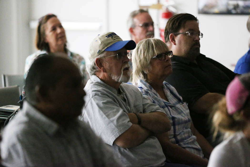People attend a watch party of the state Supreme Court hearing involving Teamsters Local 14 to determine who represents support staff, at the Teamsters Local 14 headquarters in Las Vegas, Wednesda ...