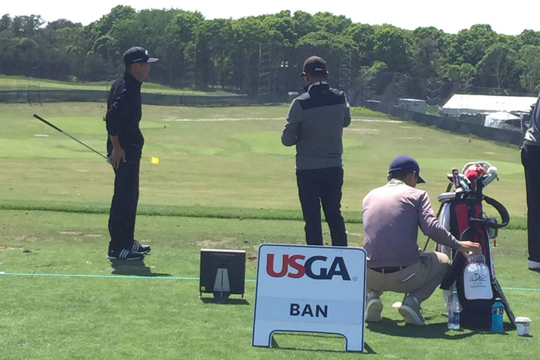 Former UNLV golfer Shintaro Ban practices on the range prior to the U.S. Open that begins Thursday at Shinnecock Hills in New York. Courtesy Shintaro Ban.