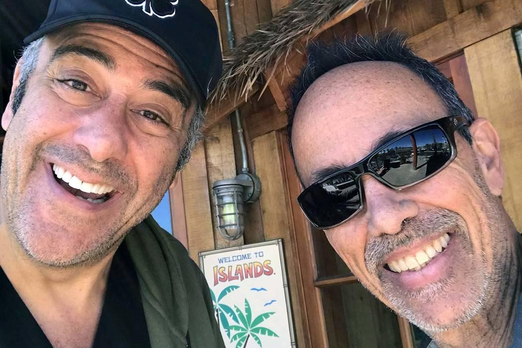 Brad Garrett and Paul Ames are shown at Islands Restaurant in Las Vegas, one of their favorite haunts. (Brad Garrett)