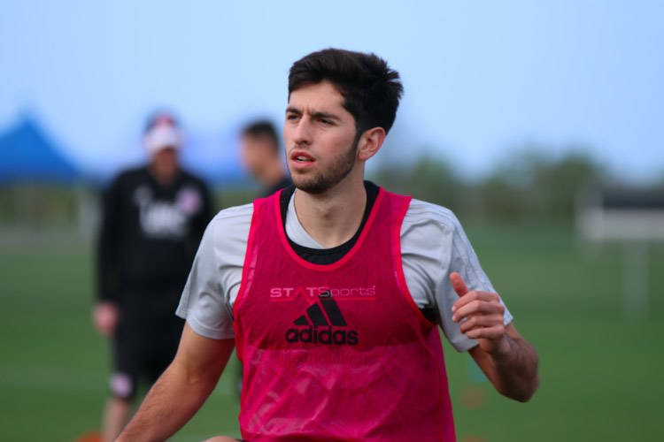 Lights FC defender Nico Samayoa, who was assigned to the Las Vegas on Monday, trains with MLS club New England Revolution recently. Photo by New England Revolution.