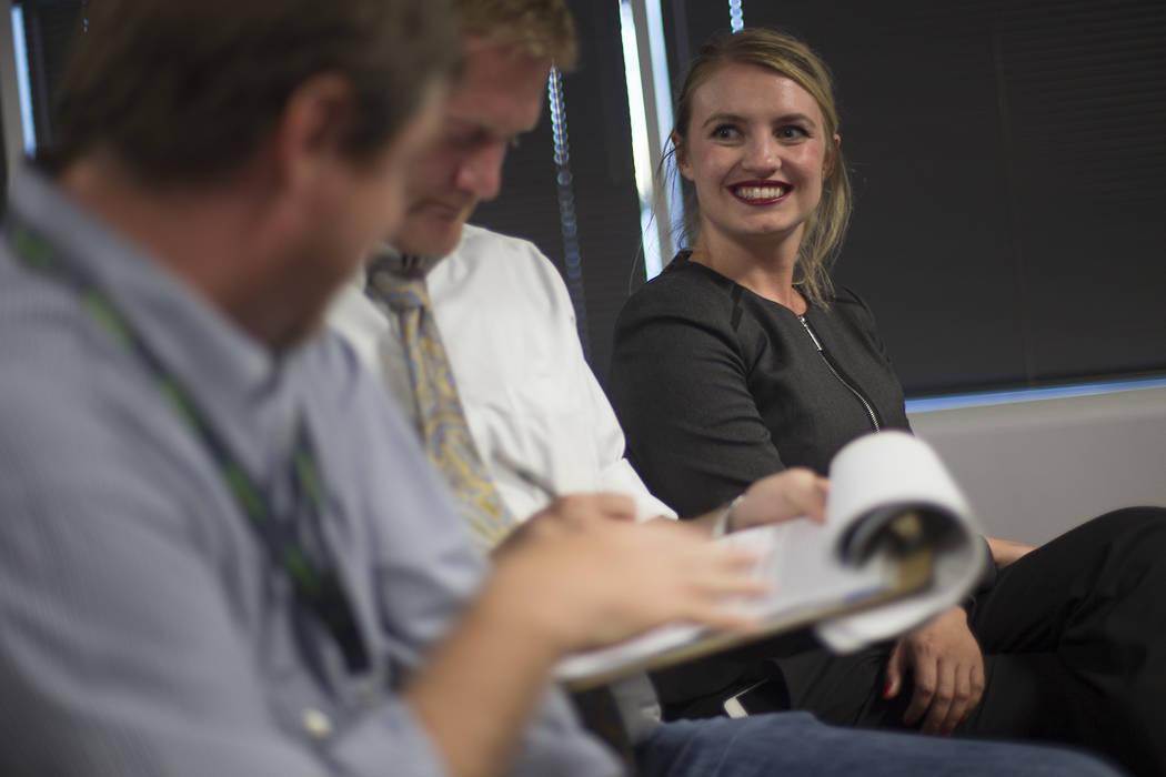 Melanie Scheible, a Democrat running for state Senate District 9, at a Democrat primary election watch party at the Service Employee International Union's offices in Las Vegas, Tuesday, June 12, 2 ...