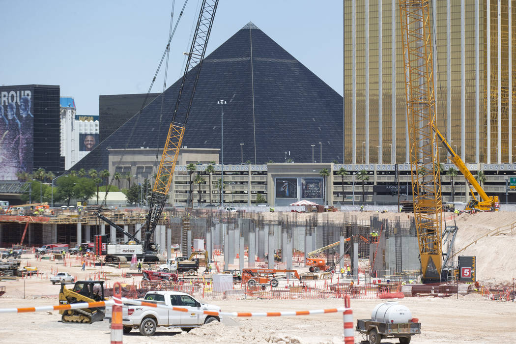 Construction continues at Las Vegas Stadium on Monday, June 4, 2018. Richard Brian Las Vegas Review-Journal @vegasphotograph
