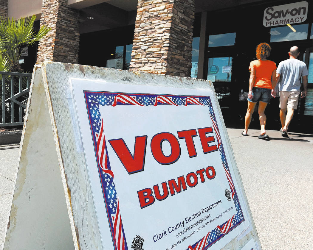 A sign indicates a polling station inside the Albertsons at 10250 W. Charleston Blvd. in Las Vegas, Saturday, May 26, 2018, on the first day of early voting for Nevada's primary election. Chitose ...