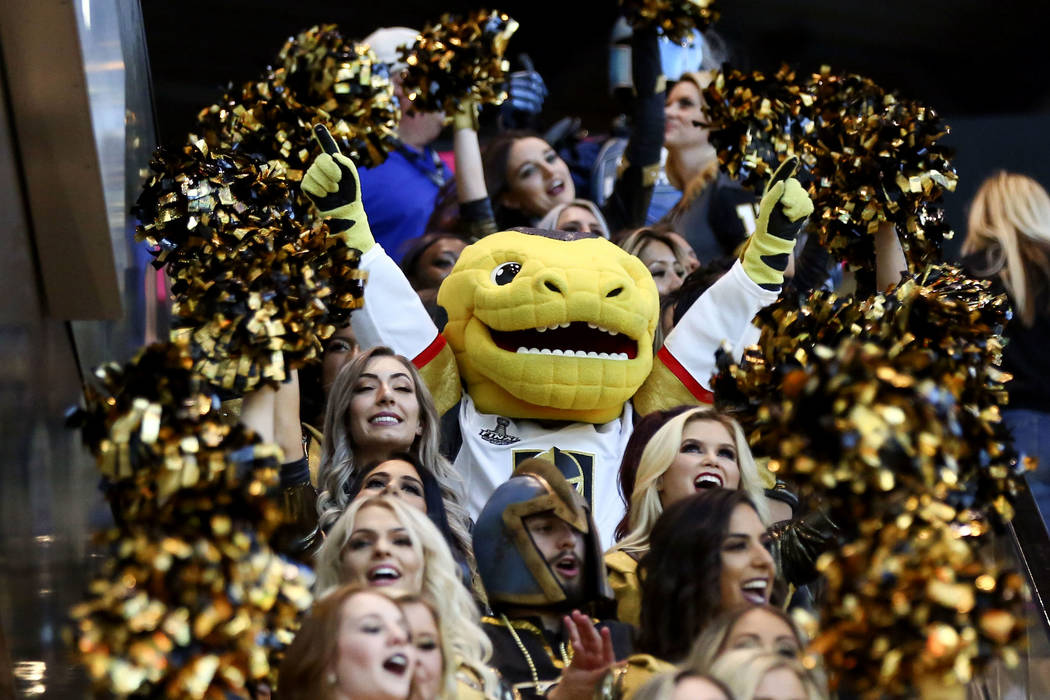 Golden Knights mascot Chance reacts during a pregame parade ahead of Game 1 of the NHL hockey Stanley Cup Final at the T-Mobile Arena in Las Vegas on Monday, May 28, 2018. Chase Stevens Las Vegas ...