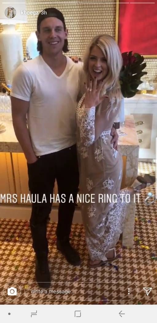 Erik Haula and Kristen Boege show off her engagement ring on an Instagram post on Monday, June 11, 2018. (@kboegz/Instagram )
