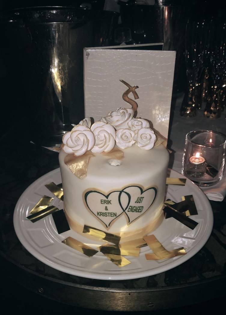 The engagement cake celebrating Erik Haula and Kristen Boege is shown at XS Nightclub on Sunday, June 10, 2018. (@kboegz/Instagram )