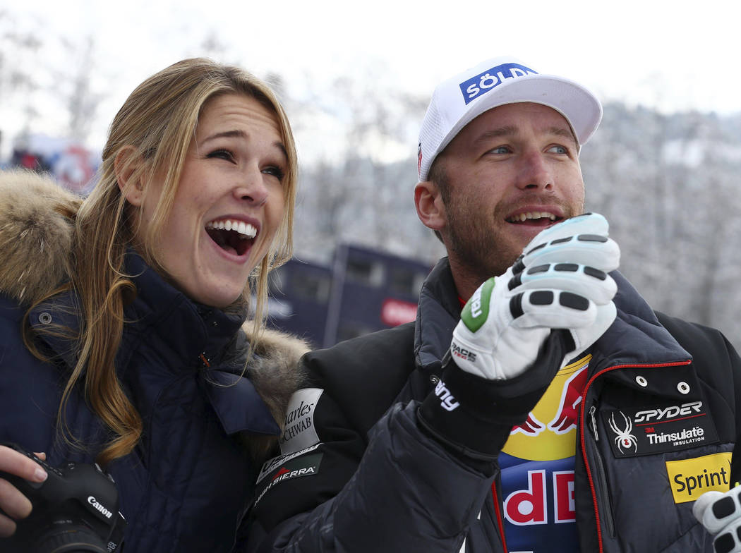 In this Jan. 25, 2014 file photo, Bode Miller and his wife Morgan smile at the men's World Cup downhill in Kitzbuehel, Austria. Authorities reported Monday, June 11, 2018, that the couple's 19-mon ...