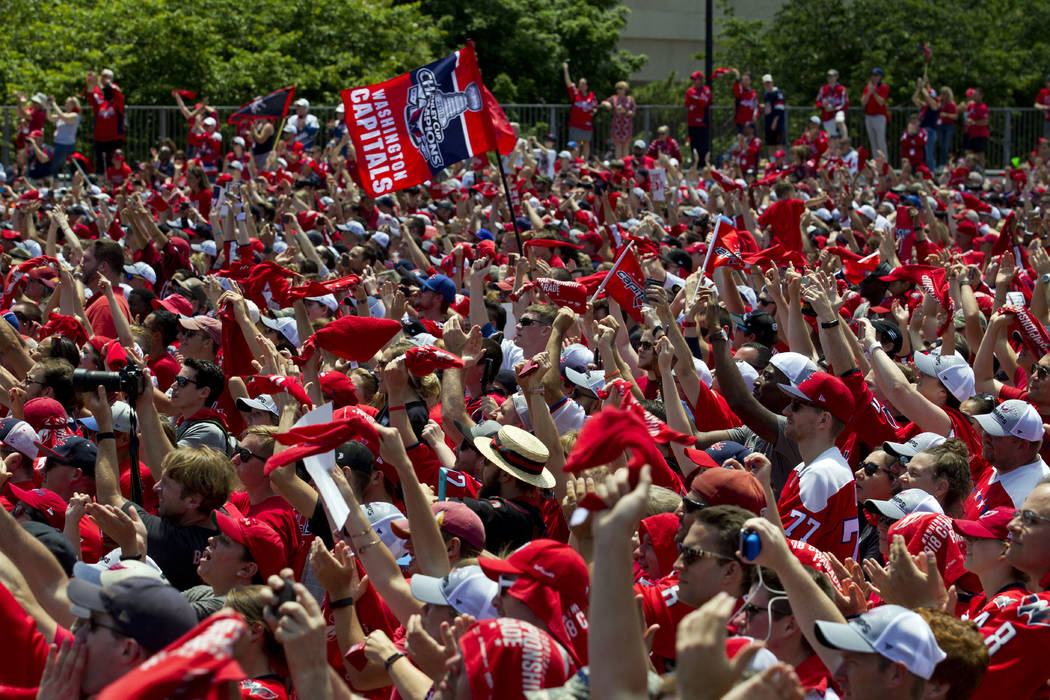 Washington Capitals NHL hockey team fans cheer during a victory parade and rally at The National Mall, Tuesday, June 12, 2018, in Washington. (AP Photo/Jose Luis Magana)