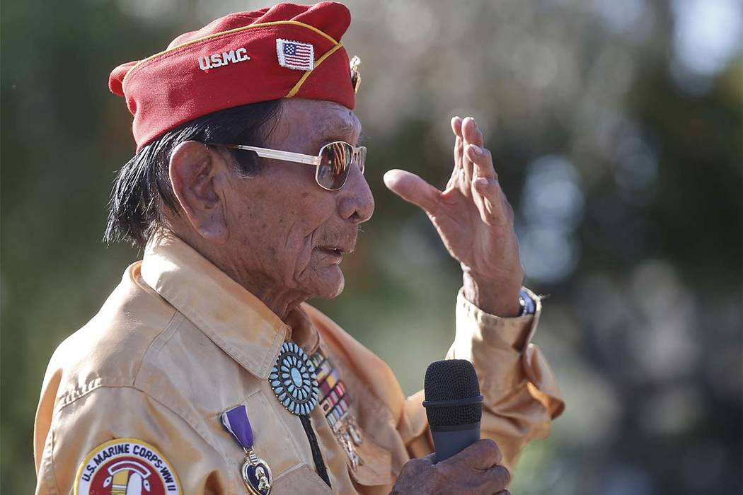 Former Marine and Navajo Code Talker Sam Holiday talks at ceremony honoring the Navajo Code Talkers and their contributions to the American war effort in World War II Monday, Sept. 28, 2015, at Ca ...