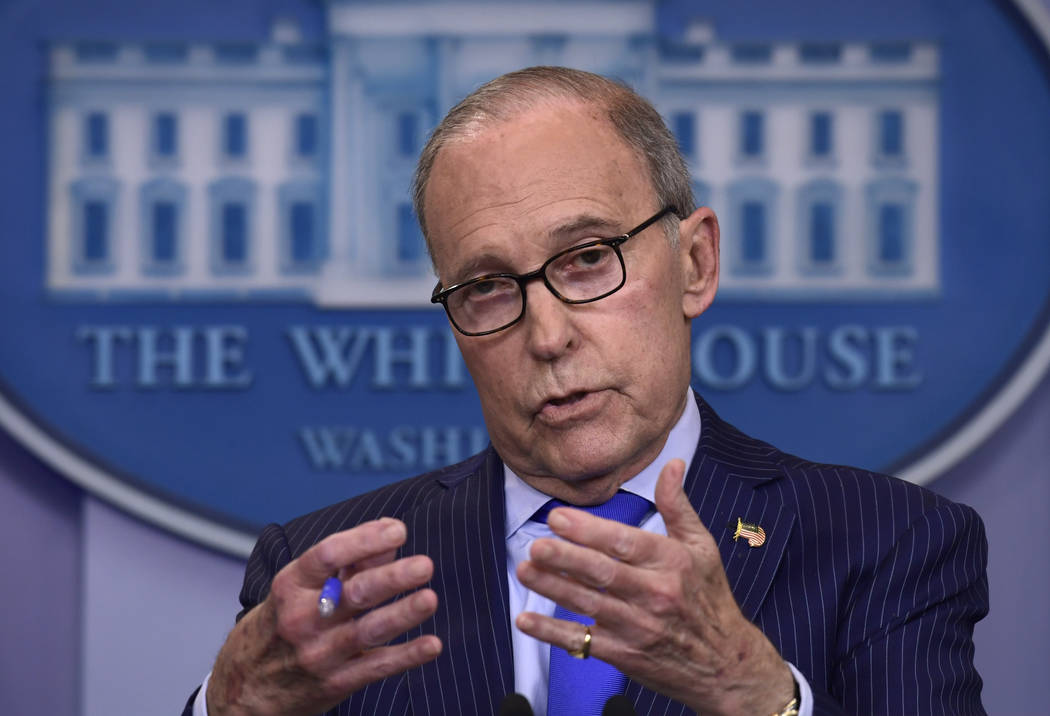 Senior White House economic adviser Larry Kudlow speaks during a briefing at the White House in Washington, June 6, 2018. (Susan Walsh/AP)