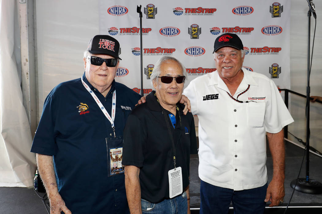 "LAS VEGAS, NV - APRIL 06: (l-r) Tom ""the Mongoose"" McEwen, Roland Leong, and Don ""the Snake"" Prudhomme pose for a photo after making an appearance in the Club Nitro hospitality ..."