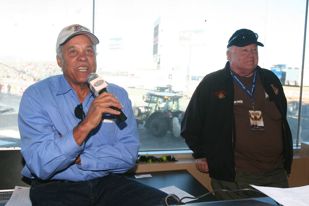"JIM MILLER/LAS VEGAS REVIEW-JOURNAL Don ""The Snake"" Prudhome (L) and Tom "" The Mongoose"" McEwen speak at a press conference during first round qualifying in the 11th annual Big ..."