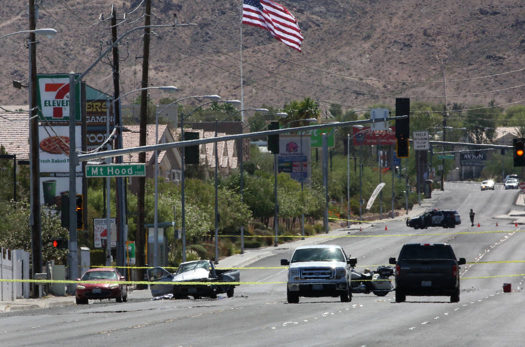 Las Vegas police investigate a fatal crash near East Lake Mead Boulevard and Mount Hood Street on Monday, June 11, 2018. (Bizuayehu Tesfaye/Las Vegas Review-Journal) @bizutesfaye