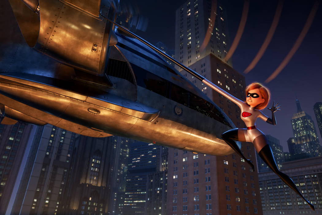 """Elastigirl is called on to lead a campaign to bring Supers back in """"Incredibles 2""""—a mission that involves a helicopter chase among other Incredible stunts. Featuring Holly Hunter as the voi ..."""