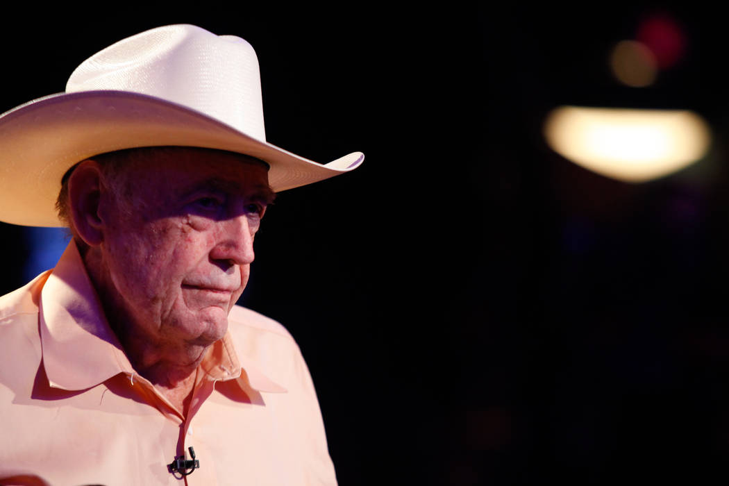Legendary poker player Doyle Brunson is seen after being eliminated during the fourth day of the World Series of Poker Main Event at the Rio Convention Center in Las Vegas on July 12, 2013. (Chase ...