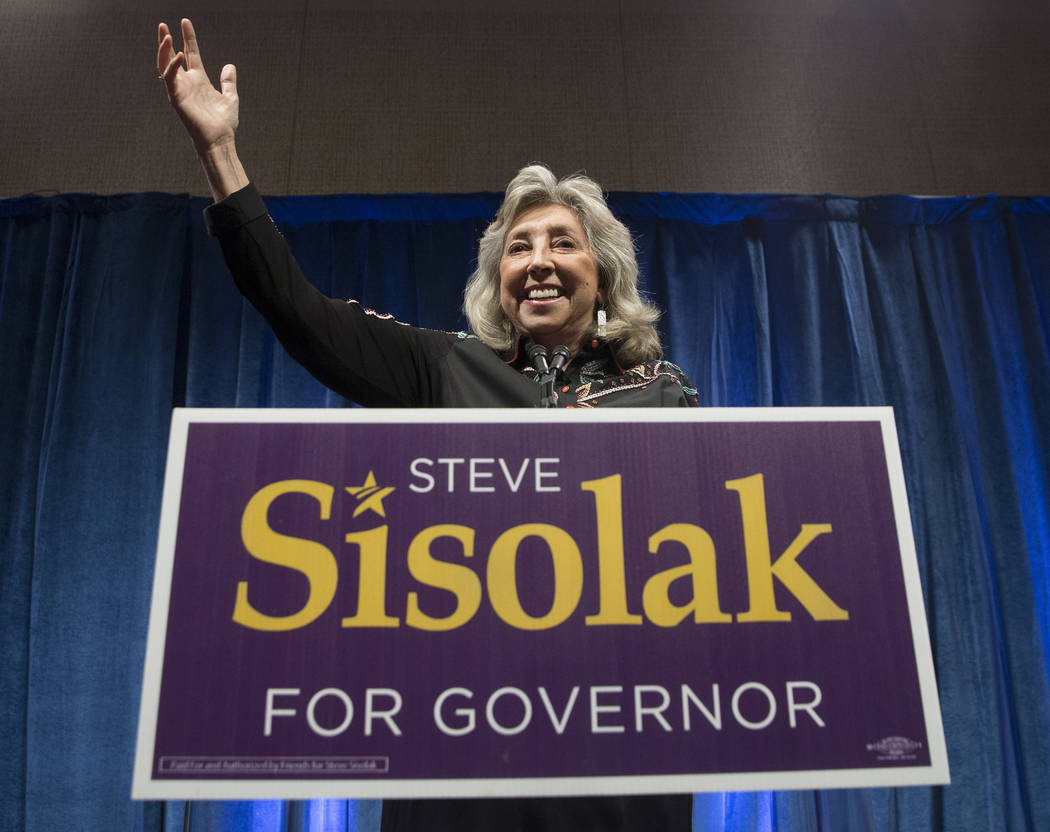 Congresswoman Dina Titus, (D) Nevada, introduces candidate Steve Sisolak at a watch party after Sisolak won the gubernatorial democratic primary at the Aria hotel-casino on Tuesday, June 12, 2018 ...