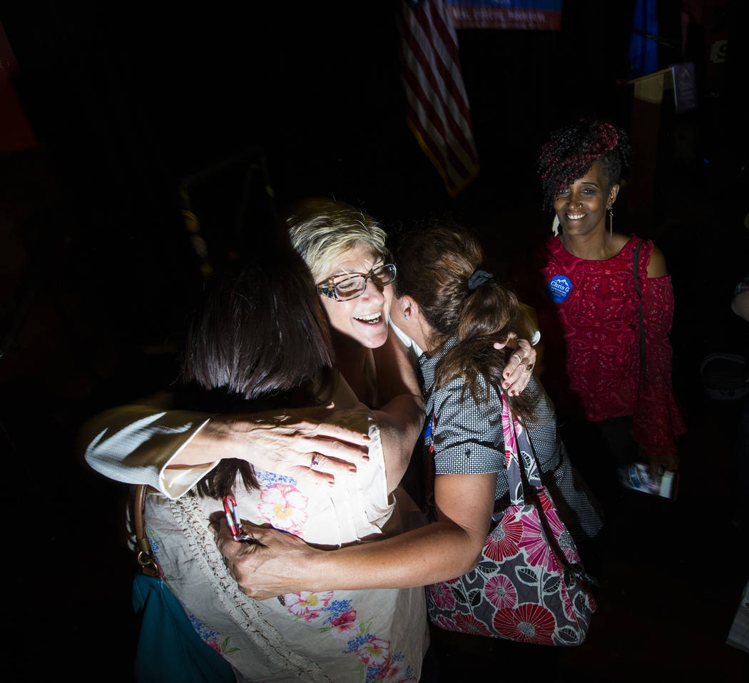 Clark County Commissioner Chris Giunchigliani hugs supporters at an election watch party at Bunkhouse Saloon after losing in the Democratic primary for Nevada governor in downtown Las Vegas on Tue ...