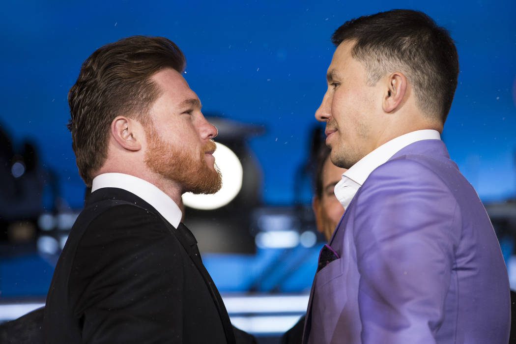 "Boxers Saul ""Canelo"" Alvarez, left, and Gennady Golovkin, right, during a press conference for their upcoming fight at Microsoft Square in Los Angeles, Calif., Tuesday, Feb. 27, 2018. Er ..."
