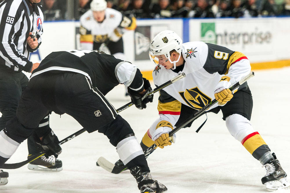 Golden Knights rookie Cody Glass during a face off against the Los Angles Kings at the Toyota Sports Center in El Segundo, Calif. on Tuesday, Sept. 12, 2017. David Sheehan/CaliShooterOne Photography.