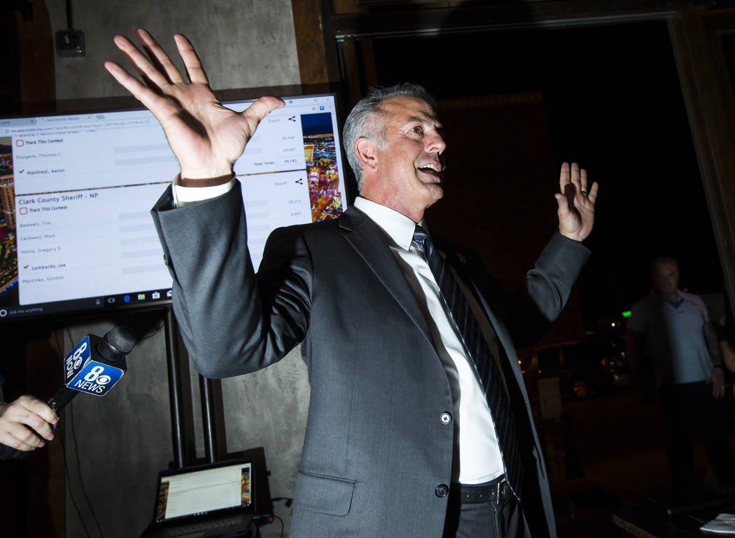 Clark County Sheriff Joe Lombardo gives his victory speech during his election night watch party at La Comida in downtown Las Vegas on Tuesday, June 12, 2018. Chase Stevens Las Vegas Review-Journa ...