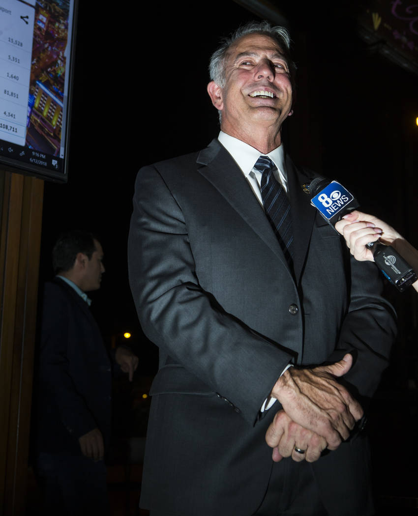 Clark County Sheriff Joe Lombardo reacts to incoming results during his election night watch party at La Comida in downtown Las Vegas on Tuesday, June 12, 2018. Chase Stevens Las Vegas Review-Jour ...
